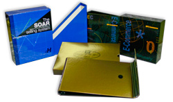 Even 3-ring binders command attention with special materials, vibrant graphics, and non-standard page orientation.