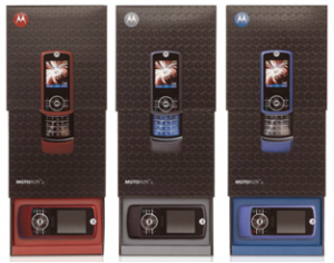 "For the MOTORIZR, a package was created that illustrates the sliding motion of the phone. The box design includes ""tatoos"" with varnished surface textures."