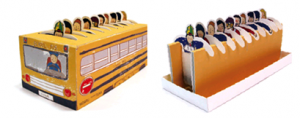 creative tea bags school bus and students