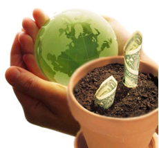 environmentally-friendly earth and money