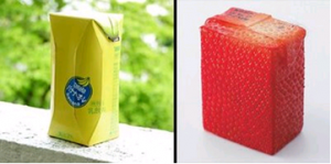 Creative juice boxes that look like the texture of fruit.