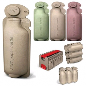 Eco-friendly paper water bottles.
