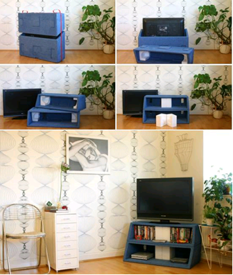 Repurposed Packaging TV Stand