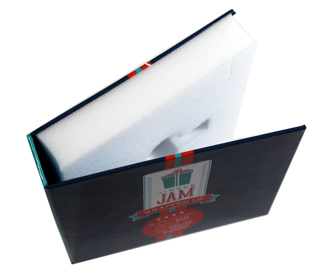 custom rigid turned edge box packaging, die cut foam cavities, turned edge packaging, matte lamination