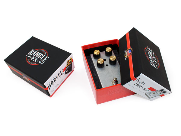 Ramble FX Twin Bender custom packaging. turned-edge box design, rigid two-piece setup box, offset printing, glossy lamination, soft touch lamination, diecut foam insert