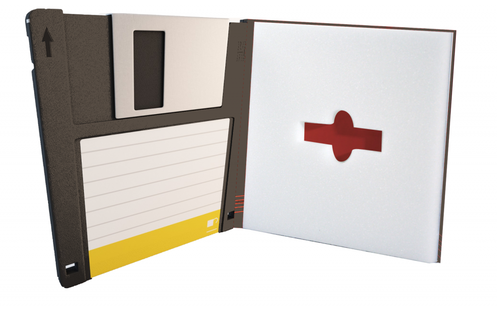 custom flash drive packaging to look like floppy disc, flash pad, usb drive, diecut foam insert