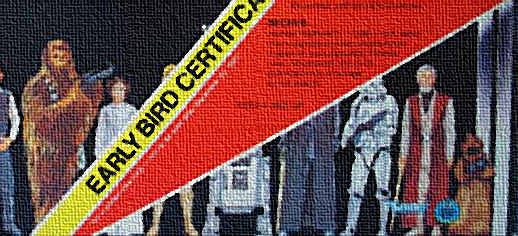 A portion of the star wars early bird certificate, maybe the most famous piece of corrugated cardboard in the history of retail