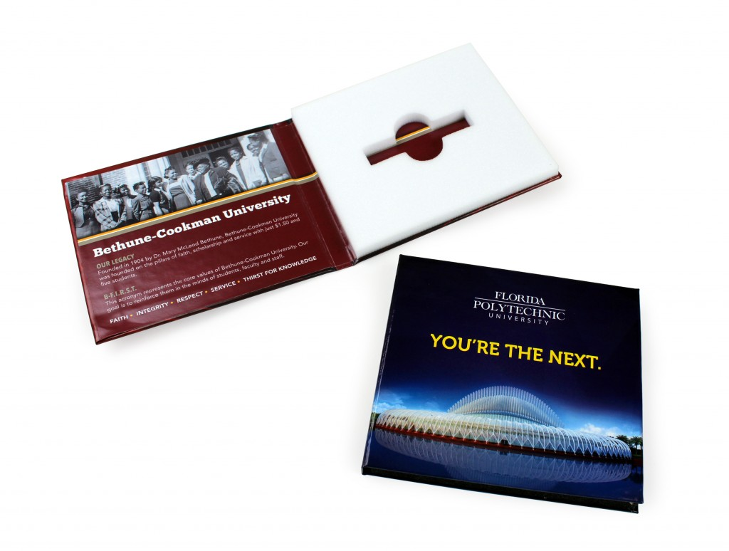 College Bound FlashPads for university recruitment, acceptance letters with hard turned edge binding and offset printing
