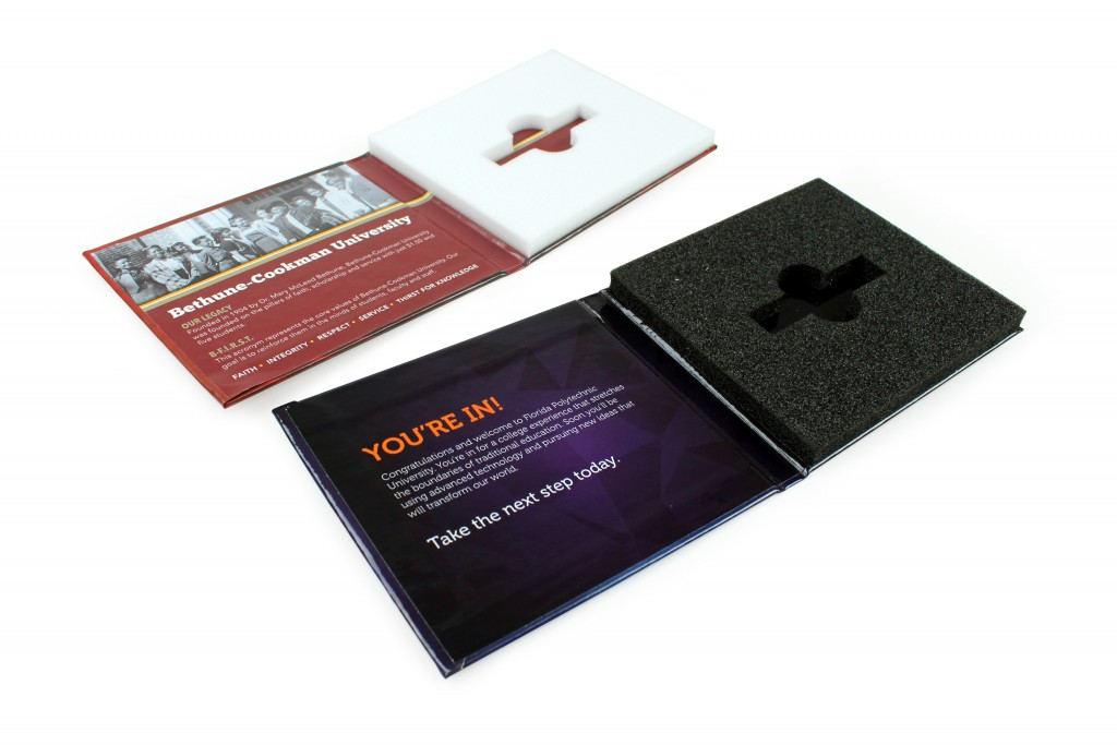 Prestigious college flashpads with turned edge bindings, offset printing, embossing, and foil-stamping