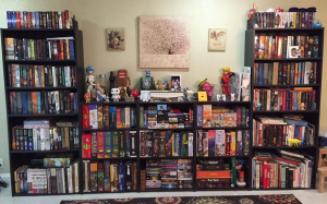 a well organized library of game boxes